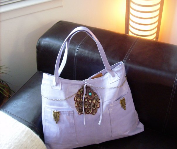 Upcycled Lavender Leather totebag