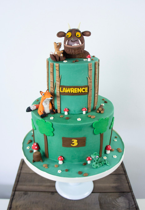 2 tier birthday cake with characters