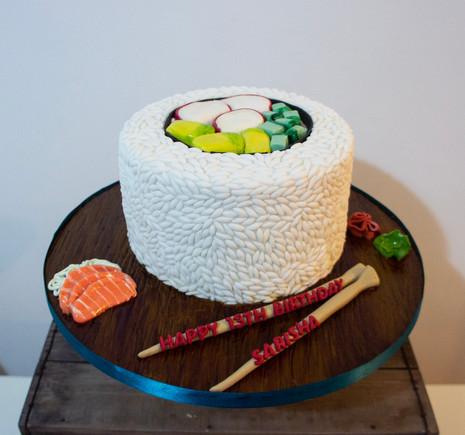 Sushi carved cake