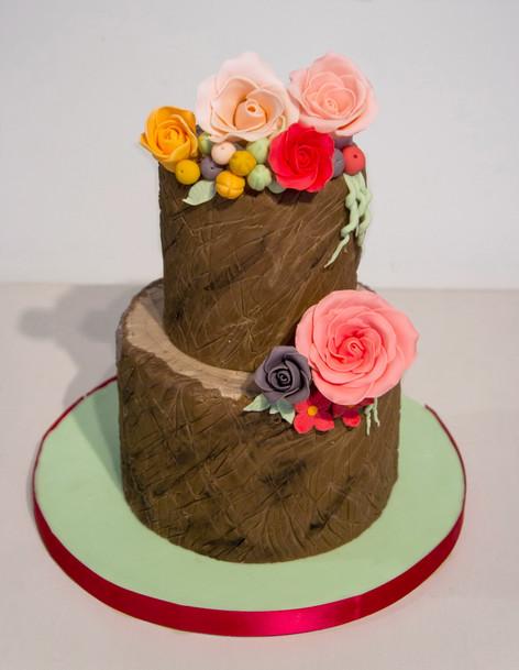 Tree stump wedding cake