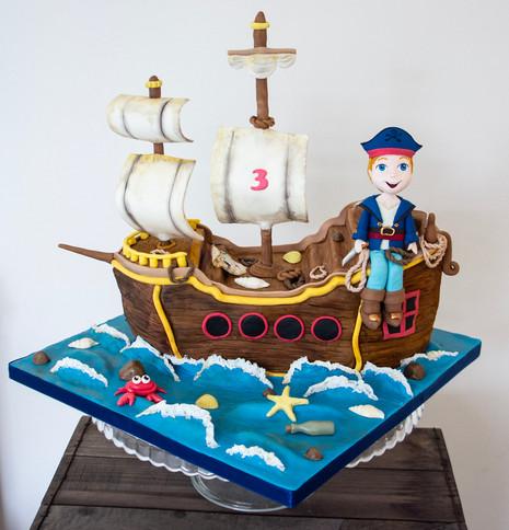 Carved Pirate Ship cake