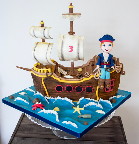 Carved Pirate Ship cake