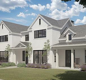 transitional modern white brick custom home