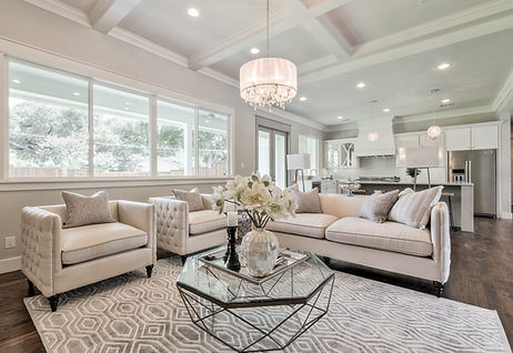 transitional home with coffered beams, custom home
