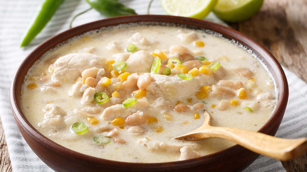White Chili Chicken and Green Chilies