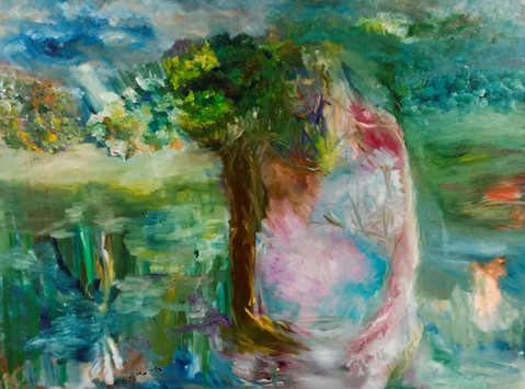 P30 – Man is a tree in the field, SOLD