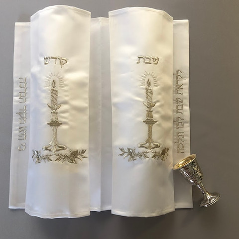 Double Silver Candlestick Challah Cover - HD1 - $85