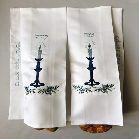 Double Blue Candlestick Challah Cover-HD5 - $85