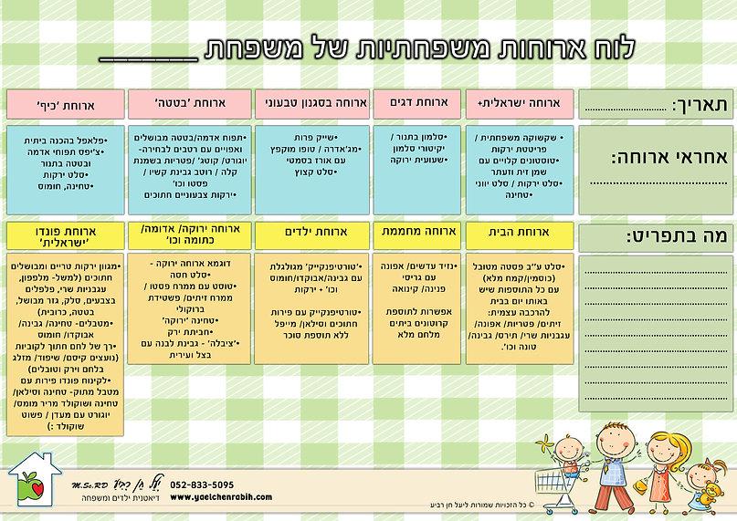 לוח ארוחות משפחתיות
