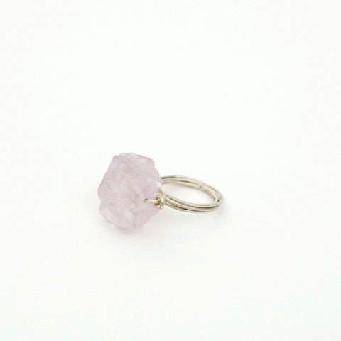 J35 – Hand made ring with natural amethyst gemstone   $140