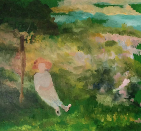 P19 – Woman Sitting in the Park, inspired by Monet