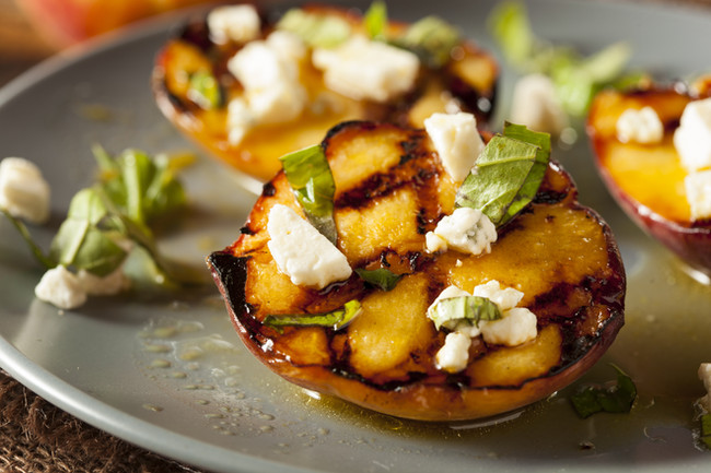 Grilled Peaches with Basil and Feta