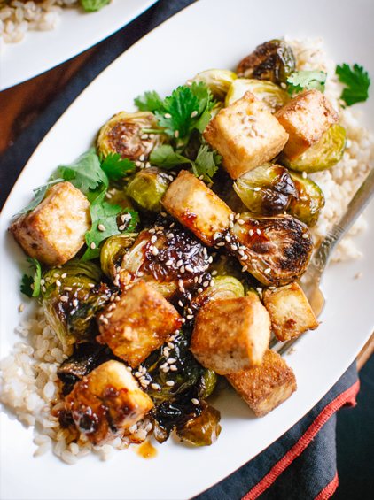In The Marley Kitchen: Roasted Brussels Sprouts and Crispy Baked Tofu with Honey-Sesame Glaze