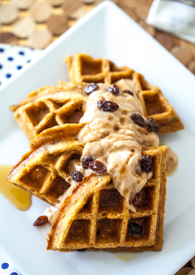 In The Marley Kitchen: Vegan Carrot Cake Waffles with Cinnamon Maple Spread