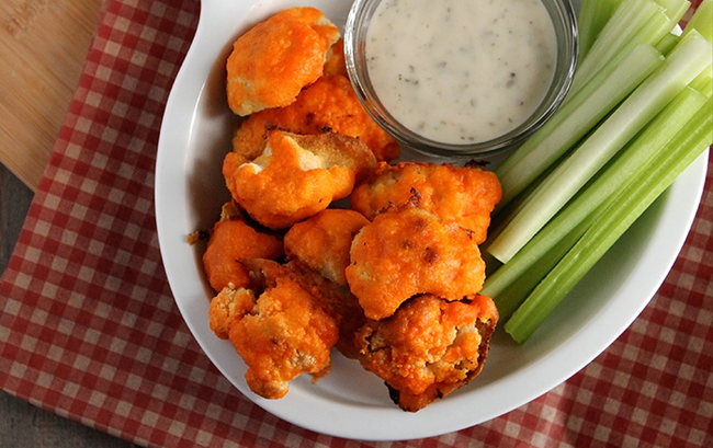 "In The Marley Kitchen: Spicy Cauliflower ""Buffalo Wings"" with vegan ranch dipping sauce"