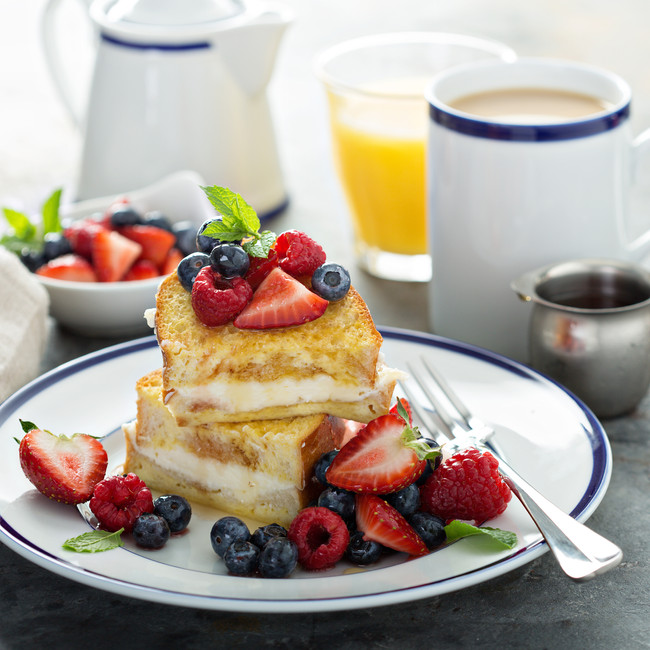 Overnight Baked Stuffed French Toast With Fresh Berries