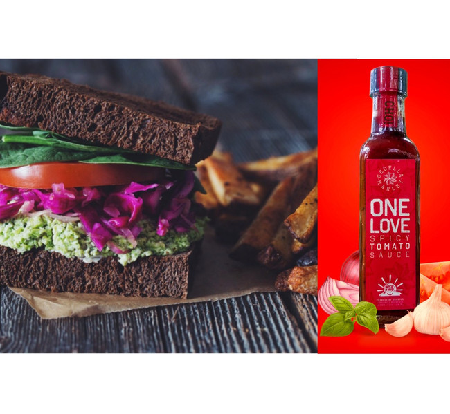 Edamame Mash Sandwiches with Homemade Fries and One Love Spicy Tomato Sauce