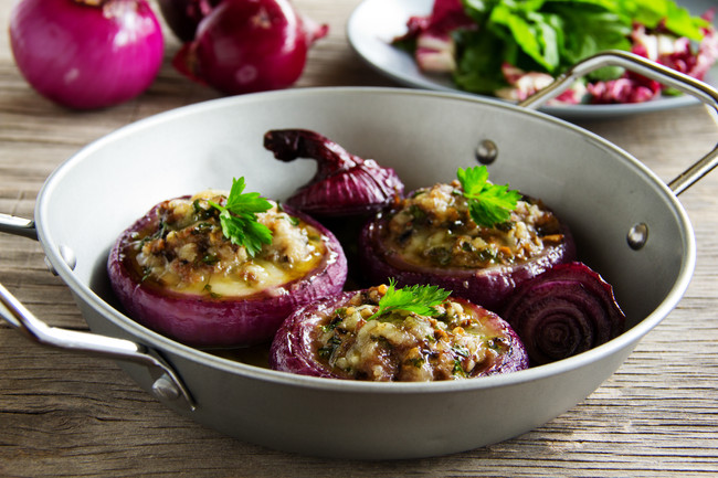 Jerked Mushroom Stuffed Roasted Red Onions