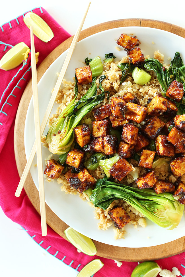 "In The Marley Kitchen: Spicy Baked Tofu with Cauliflower ""Rice"" and Bok Choy"