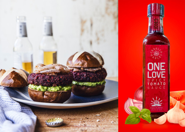 Island Beet Burgers with Avocado, Jerk Fried Onions and One Love Spicy Tomato Sauce