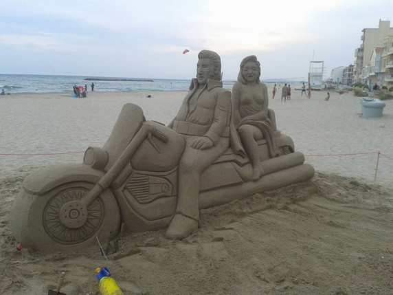 Sculpture-sable-sand-sculpture-lozza-biker-harley davidson