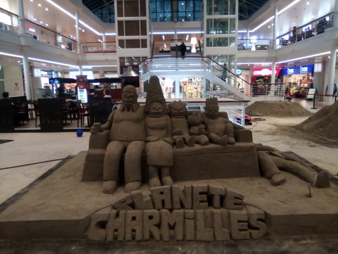 Sculpture-sable-sand-sculpture-lozza-planete charmille-centre commercial