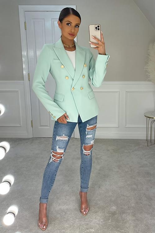 ANNABELLA Mint Gold Buttoned Tailored Blazer