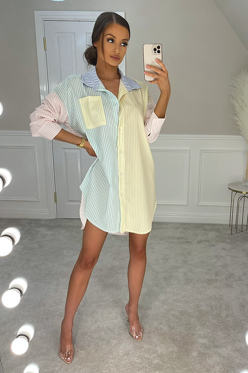 HADLEY Pink Sleeve Pinstripe Oversized Shirt Dress