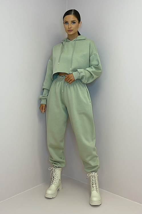PAIGE Sage Green Oversized Cropped Tracksuit