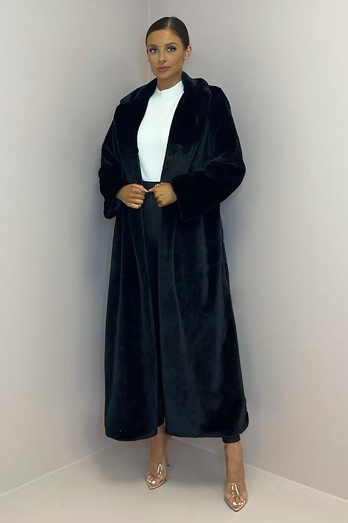 KAITLYN Black Soft Faux Fur Longline Coat