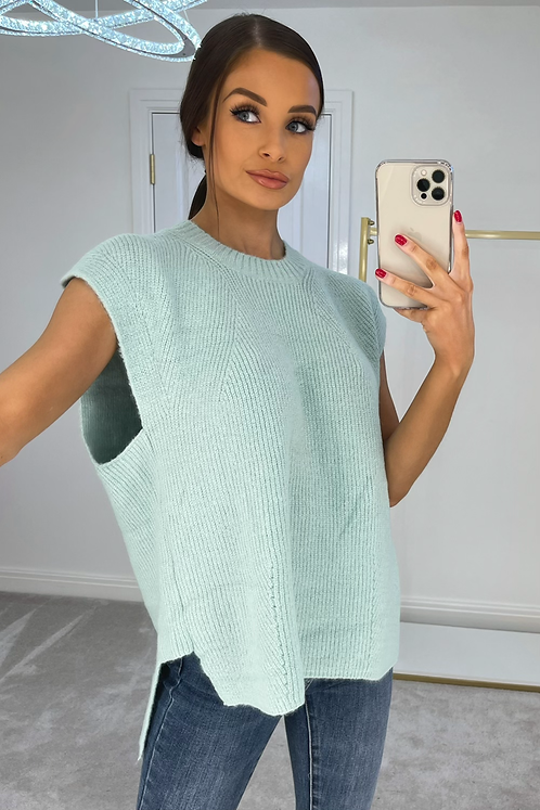 ESME Mint Oversized Soft Knit Sleevless Jumper (SALE)