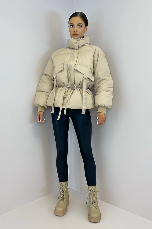 LUCIA Apricot Cinched Waist Puffer Jacket