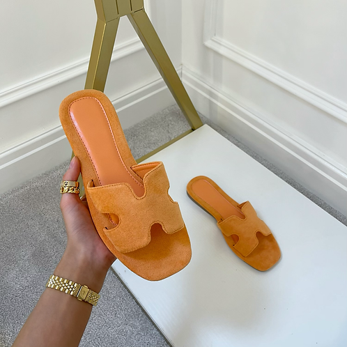 ALEX Orange Faux Suede Slip On Sandals