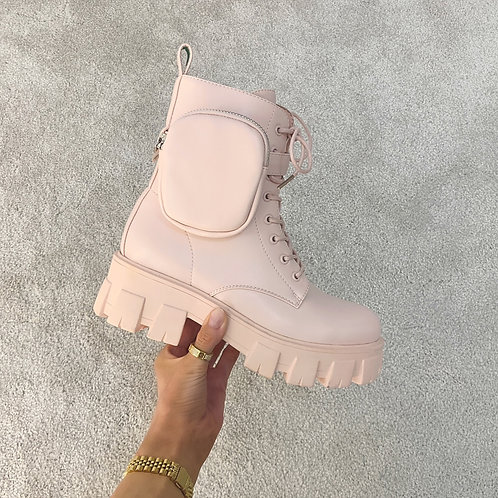 HARPER Baby Pink Chunky Pocket Ankle Boots