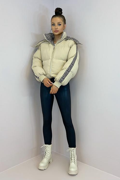 KIA Beige Aztec Hooded Puffer Jacket