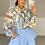 Thumbnail: TAYLOR Blue Oversized Collar Printed Shirt