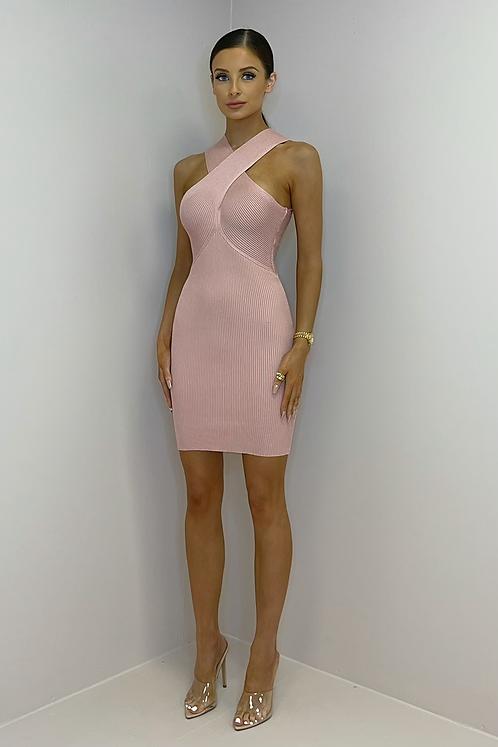 ESTELLE Pink Cross Over Knitted Dress