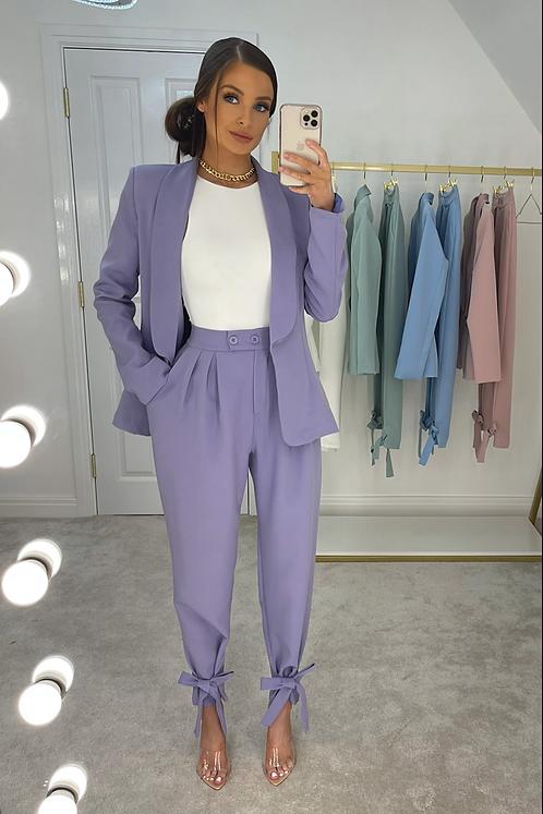 ASPEN Violet Ankle Tie Structured Pant Suit (SALE)