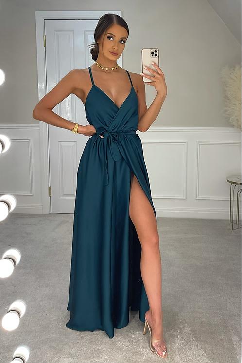 RAYNA Bottle Green Silky Split Leg Maxi Dress
