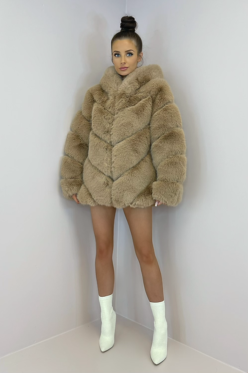 IVY Camel 5 Tier Luxury Faux Fur Hooded Coat