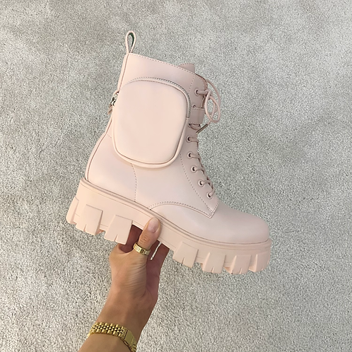 HARPER Baby Pink Chunky Pocket Boots