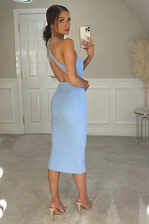JESSICA Blue Premium Rib Cross Back Midi Dress