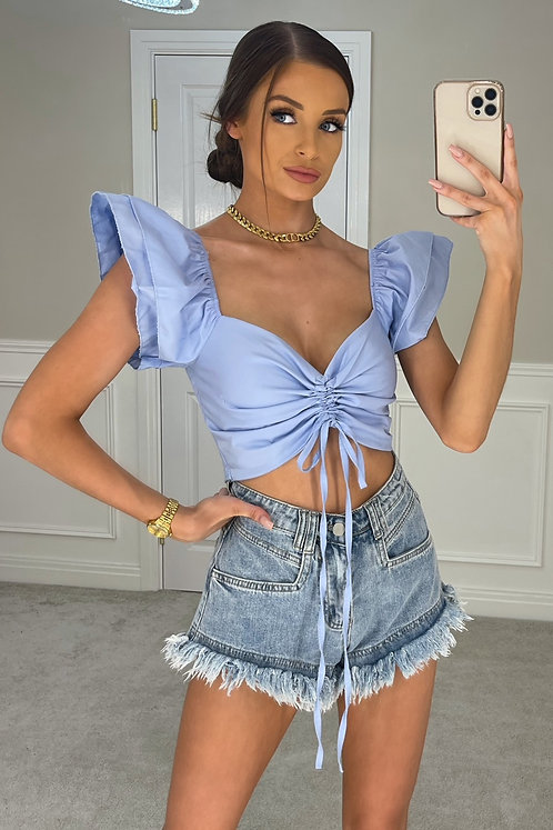 KYLIE Blue Exaggerated Shoulder Crop Top