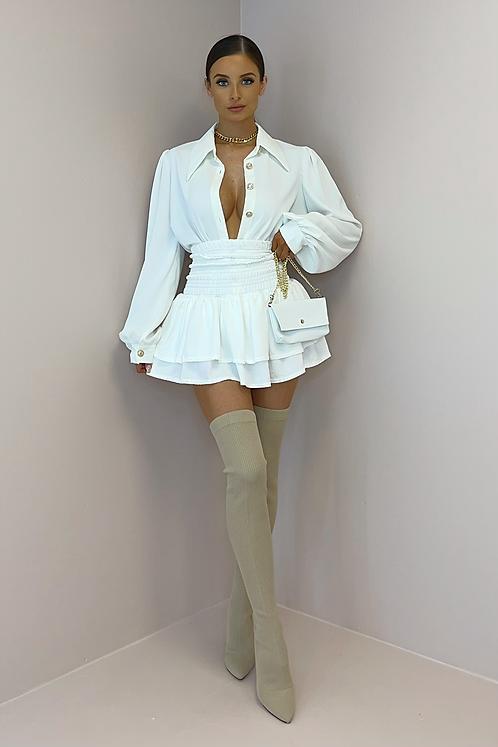 KENDRA White High Waisted Gypsy Skirt