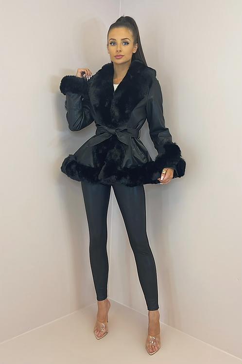 WHITNEY Black Faux Leather/Fur Peplum Jacket