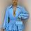 Thumbnail: ILIANA Blue Oversized Collar Gold Button Shirt (Bag Included)