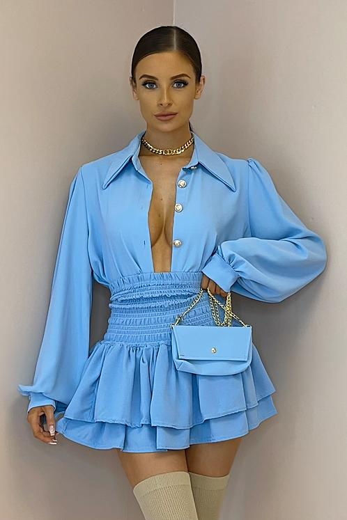 ILIANA Blue Oversized Collar Gold Button Shirt (Bag Included)