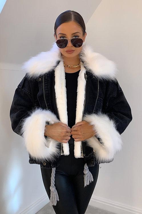 CHLOE Black Denim & White Faux Fur Jacket