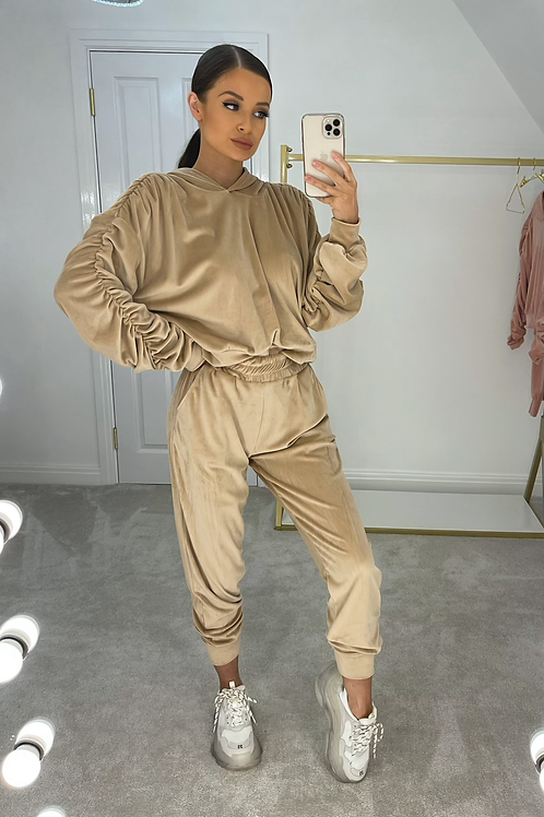 BRONWYN Toffee Ruched Velour Tracksuit (SALE)