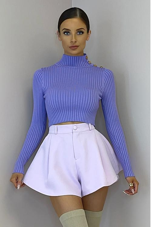 MORGAN Violet Stretch Rib Button Shoulder Crop Top